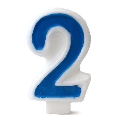 Blue Numeral 2 Number Candle White Premium Birthday Candle- Le Petit Pain