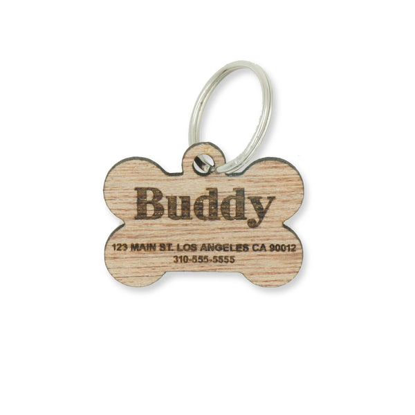 Custom Personalized Wood Pet Name Address Identification Dog Tag Engraved Dog Bone Collar- Le Petit Pain