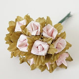 24 Rustic Paper Roses Flowers Bouquet Burgundy Ivory Pink Peach Wedding Crafts - le petit pain