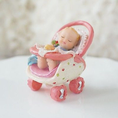 Precious Baby in Pink Stroller Figurine Baby Shower Decoration- Le Petit Pain
