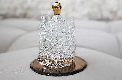 Hand Blown Castle Glass Figurine with Gold Trim Vintage Style Medieval Gift