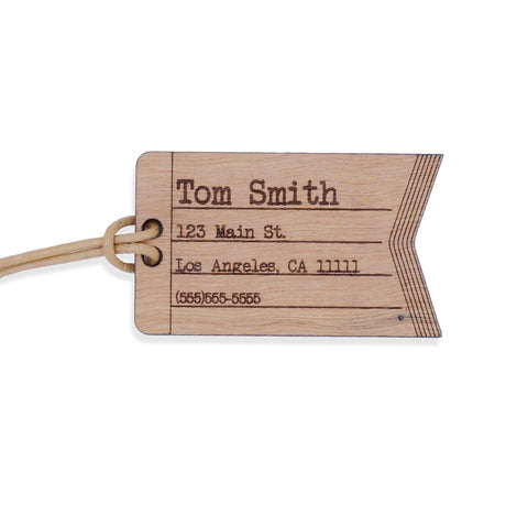 Custom Leather and Wood Luggage Tag Suitcase Travel Identification Tag- Le Petit Pain