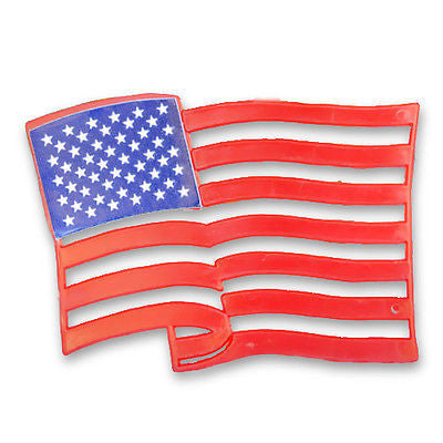 3 American Birthday Flags Cupcake Cake Topper Plaque, USA Party Decoration, Baking Supply