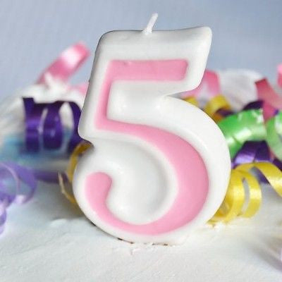 Pink 5 Number Candle White Premium Birthday Candle- Le Petit Pain