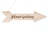 Custom Personalized Wooden Arrow Directions Wedding Sign Hanging Decoration- Le Petit Pain