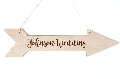 Custom Personalized Wooden Arrow Directions Wedding Sign Hanging Decoration