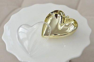 Plastic Heart Shaped Container  Clear with Gold Chrome Favor Box Gift Jewelry Box