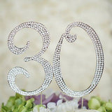 30th Birthday Crystal Rhinestone Cake Topper Anniversary Party Monogram - le petit pain