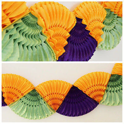 12 FT Double Paper Fan Mardi Gras Party Banner Garland Purple Orange Green New Orleans