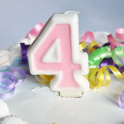 Pink 4 Number Candle White Premium Birthday Candle- Le Petit Pain