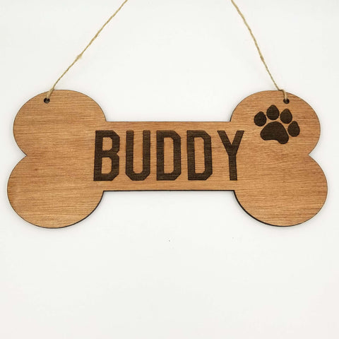 Personalized Dog Bone Dog House Wooden Sign Decor Custom Name with Paw- Le Petit Pain