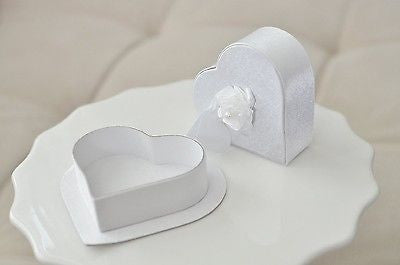 2 White Satin Heart Shaped Jewelry Gift Box with Rose Gift Tag Wedding Anniversary - le petit pain