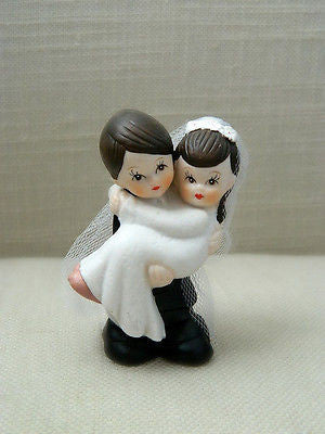 Bride and Groom Cake Topper Crossing Threshold Dark Brown Hair with Veil Vintage- Le Petit Pain