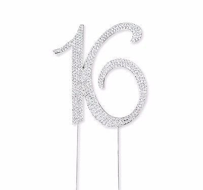 Sweet 16 Silver Crystal Rhinestone Cake Topper 16th Birthday Bling Party Favor- Le Petit Pain