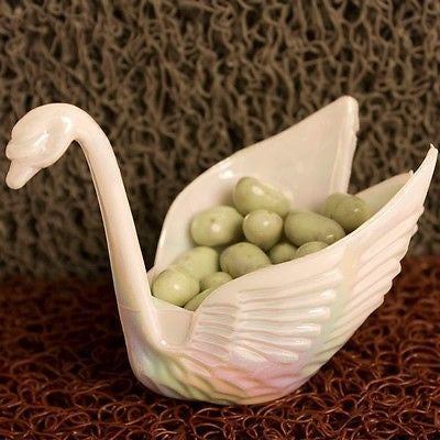 12 Beautiful Iridescent White Swan Wedding Favors Candy Dish Containers - le petit pain