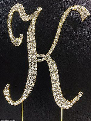 Gold Letter Initial K Birthday Crystal Rhinestone Cake Topper K Party Monogram- Le Petit Pain