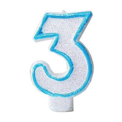 Blue Glitter Numeral 3 Number Candle White Premium 3rd Birthday Cake Candle- Le Petit Pain