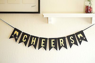 Gold Black Cheers Banner, Birthday Celebration Banner, New Years Party Decor- Le Petit Pain