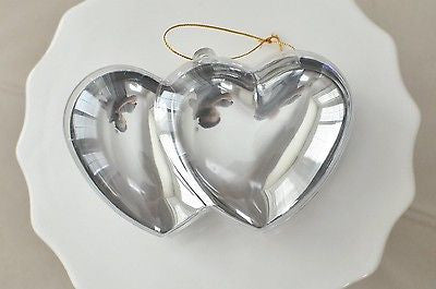 Plastic Silver Chrome Double Heart Container Ornament Favor Fillable- Le Petit Pain