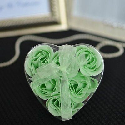 6 Mint Rose Petal Soap in Heart Gift Box with Ribbon Anniversary Wedding Gifts