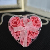 6 Multiple Colors Available Rosebud Soaps in Heart Gift Box with Ribbon - le petit pain