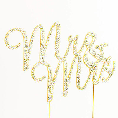 Mr and Mrs Script Gold Glitter Rhinestone Wedding Cake Topper- Le Petit Pain