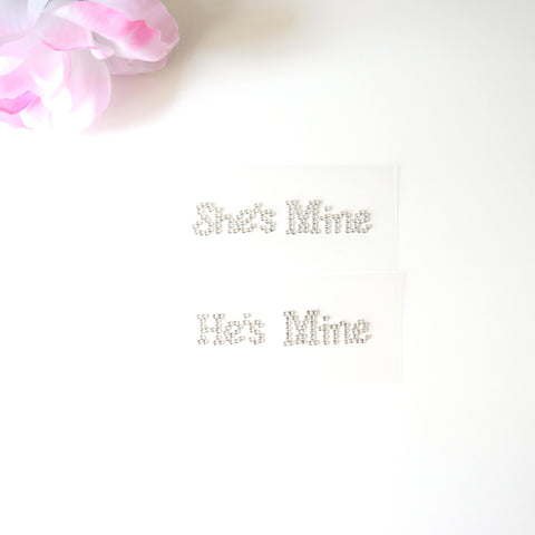 He's Mine She's Mine Bridal Shoe Stickers Clear Rhinestone I Do Wedding Accessory