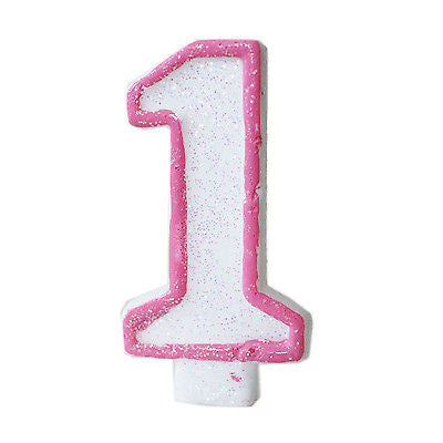 Pink Glitter 1 Number Candle White Premium 1st Birthday Cake Candle Anniversary- Le Petit Pain