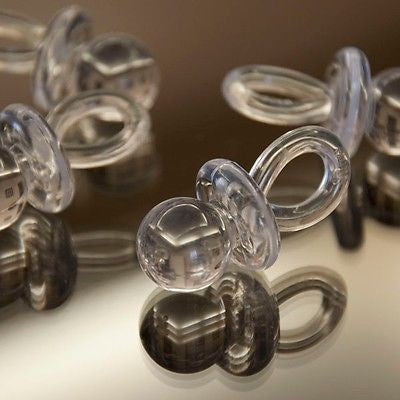 "8 Clear White Pacifiers 1 3/4"" Plastic Favors Binky Baby Shower Game Favors - le petit pain"