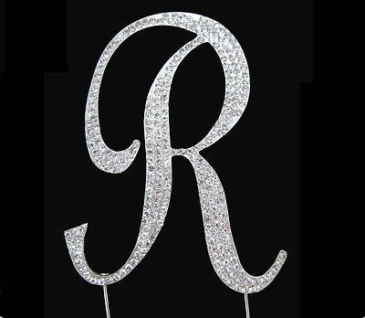 Silver Letter Initial R Birthday Crystal Rhinestone Cake Topper R Party Monogram