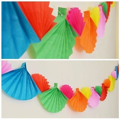 Celebration Rainbow Paper Fans Paper Garland 12 Ft Long- Le Petit Pain