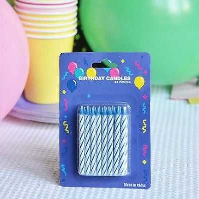 "48 Blue Candy Striped Birthday Candles 2"" Candle Stick Cake Topper Aqua White - le petit pain"