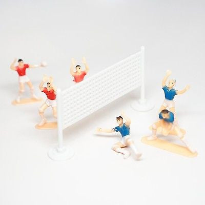 Volleyball Team Cake Topper 6 Players and Net Plastic- Le Petit Pain