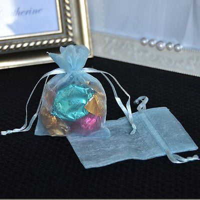 "10 count Baby Blue Organza Favor Bags Pouches 3""x4"" - le petit pain"
