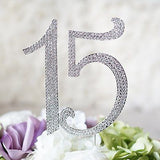 Sweet 15 Quinceanera Silver Crystal Rhinestone Cake Topper Birthday Party Favor