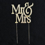 Mr and Mrs Gold Glitter White Crystal Wedding Bride and Groom Cake Topper