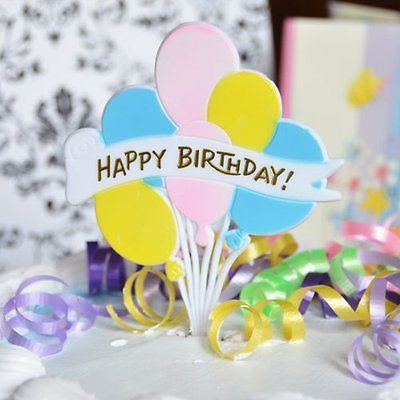 2 Pink Yellow Blue Happy Birthday and Balloons Picks Cake Topper 6.25""
