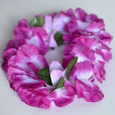 Premium Hawaiian Crown Lei Headband Paradise Petunia w/ Orchids in Violet Boho