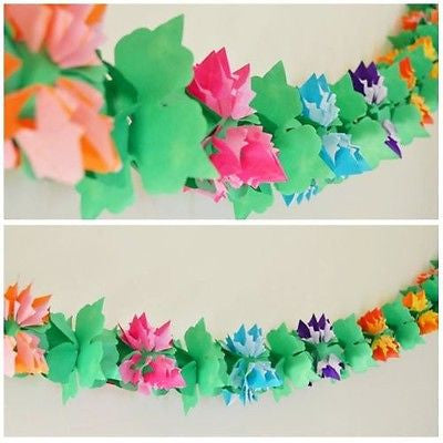 3D Luau Flower Shaped Paper Garland 12 Ft Long - le petit pain