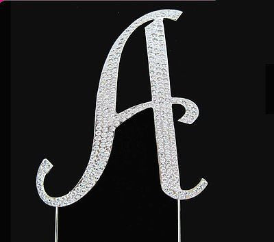 Silver Letter Initial A Birthday Crystal Rhinestone Cake Topper A Party Monogram- Le Petit Pain
