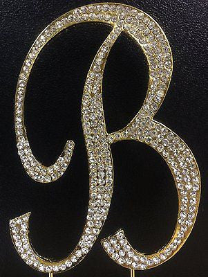 Gold Letter Initial B Birthday Crystal Rhinestone Cake Topper B Party Monogram