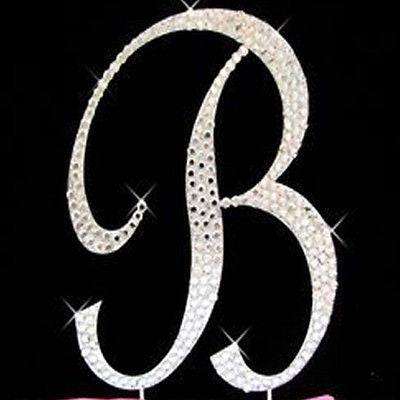 Silver Letter Initial B Birthday Crystal Rhinestone Cake Topper B Party Monogram- Le Petit Pain