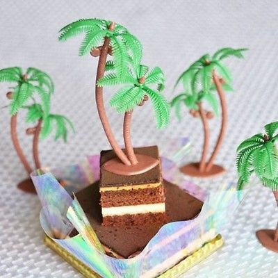 "8 Palm Tree with Coconuts 3"" Tall Cake Toppers Tropical Beach Luau Theme"