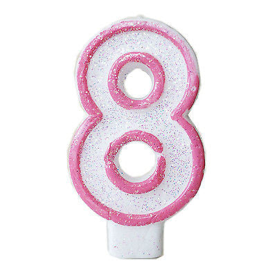 Pink Glitter Sprinkles 8 Number Candle White Premium 8th Birthday Cake Candle