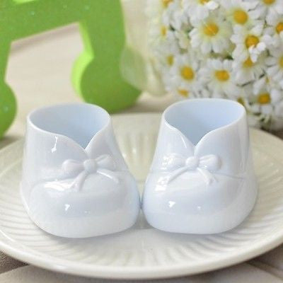 6 White Baby Booties Favors Baby Shower Party Decoration Gender Neutral Birthday - le petit pain