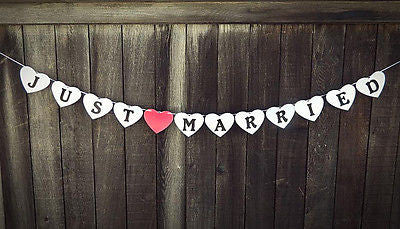 Heart Shaped Just Married Wedding Banner Pearl White Wedding Sign Photo Prop- Le Petit Pain