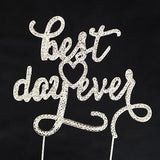 Best Day Ever Script Crystal Rhinestone Wedding Cake Topper Silver Monogram- Le Petit Pain