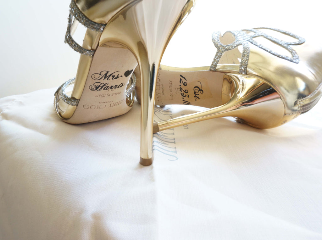 a9b50578554db Custom Personalized Wedding Bridal Shoe Decal Name Date Heart Shoe Stickers