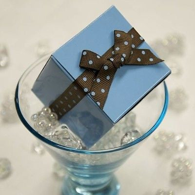 "10 Light Blue Party Favor Boxes Kit Polka Dot Ribbon  2"" Wedding Baby Shower USA"