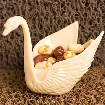 "Set of 12 Beautiful Ivory Swan Wedding Favors Candy Dish Containers 3""- Le Petit Pain"